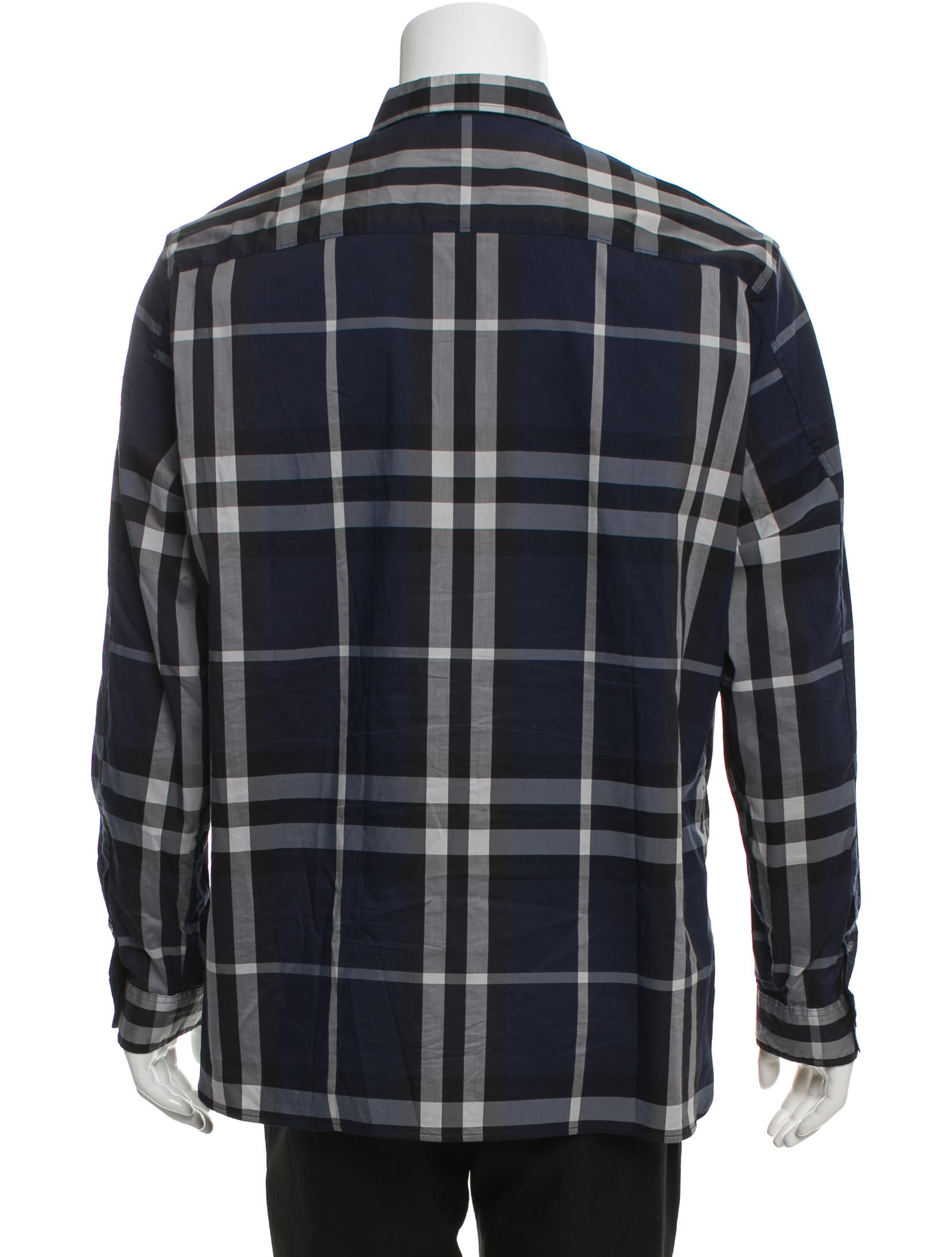 Burberry brit check print button up shirt clothing for Burberry brit checked shirt