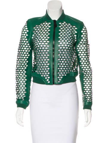 Burberry Brit Laser Cut Leather Jacket None