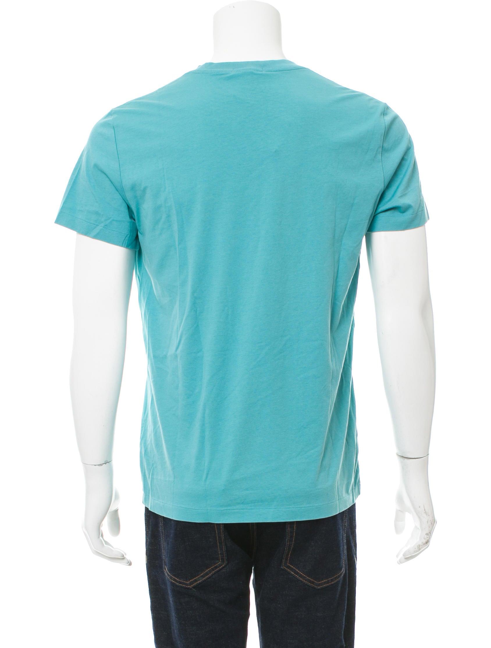 Burberry brit logo embroidered v neck t shirt clothing for Shirt with logo embroidered
