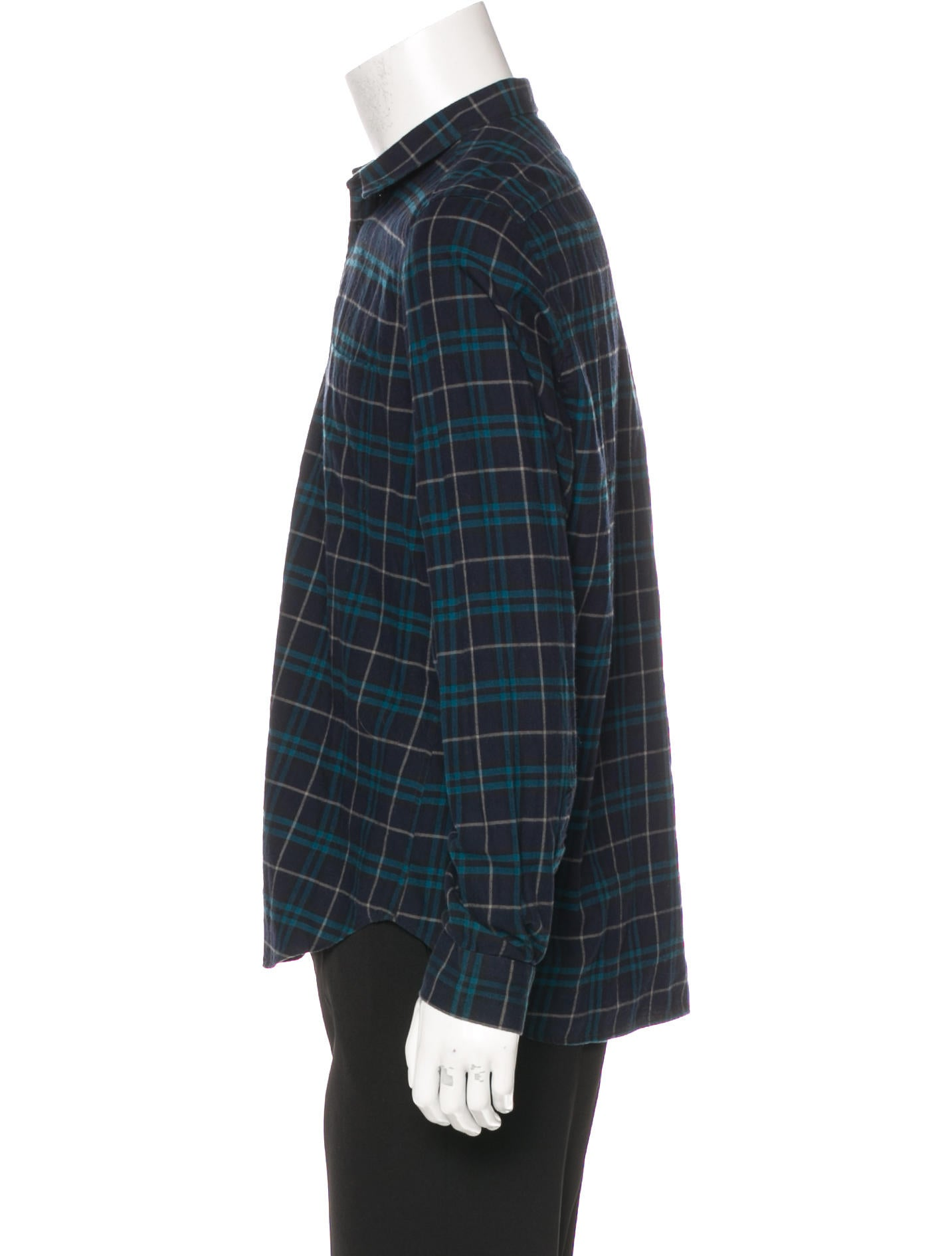 Burberry Brit Wool Blend Plaid Woven Shirt Clothing