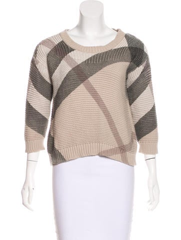 Burberry Brit Exploded Check Cashmere-Blend Sweater None