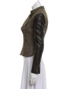 c9a242b7de52ea Burberry Brit. Leather-Accented Asymmetrical Jacket