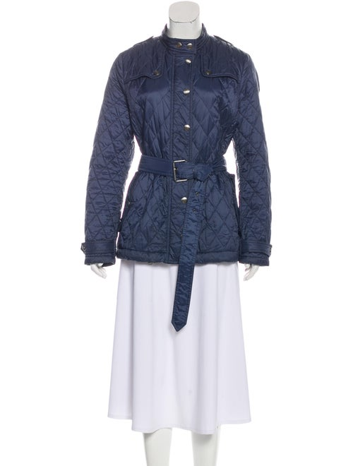 Burberry Brit Quilted Belted Jacket Navy