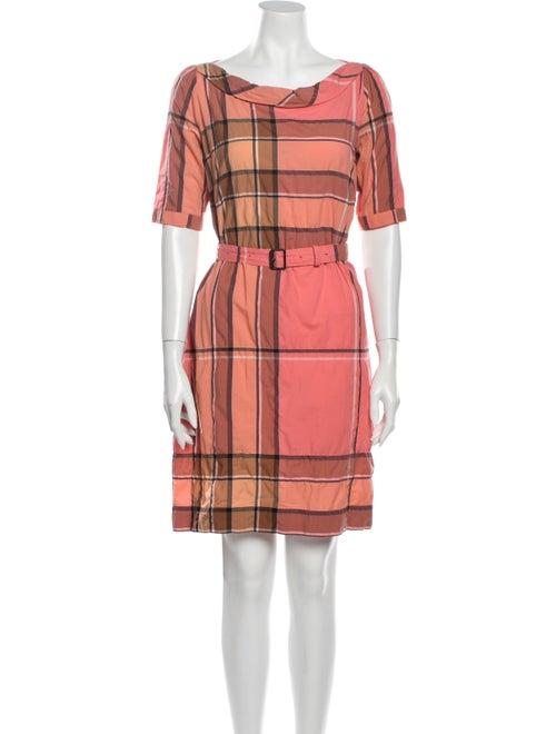 Burberry Brit Plaid Print Mini Dress Pink