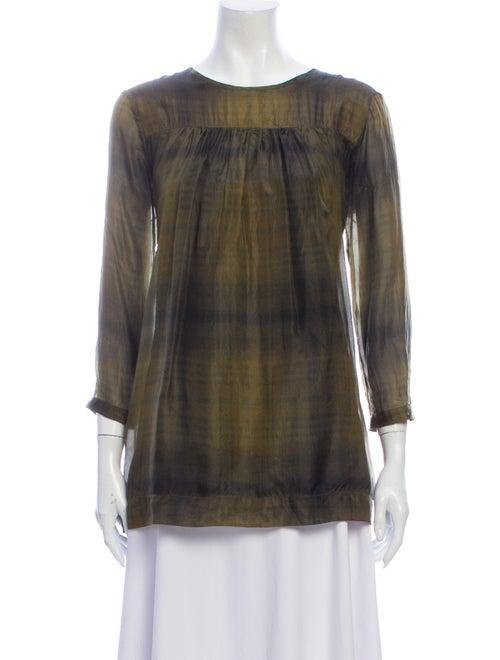 Burberry Brit Silk Tie-Dye Print Blouse Green