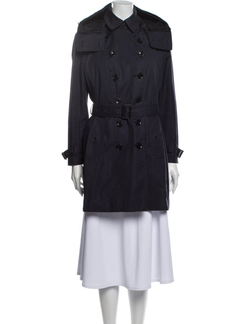 Burberry Brit House Check Trim Coat Trench Coat Bl