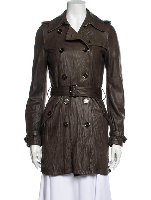 Burberry Brit Leather Trench Trench Coat Brown