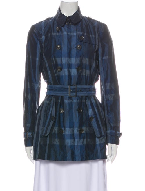 Burberry Brit Plaid Print Trench Coat Blue