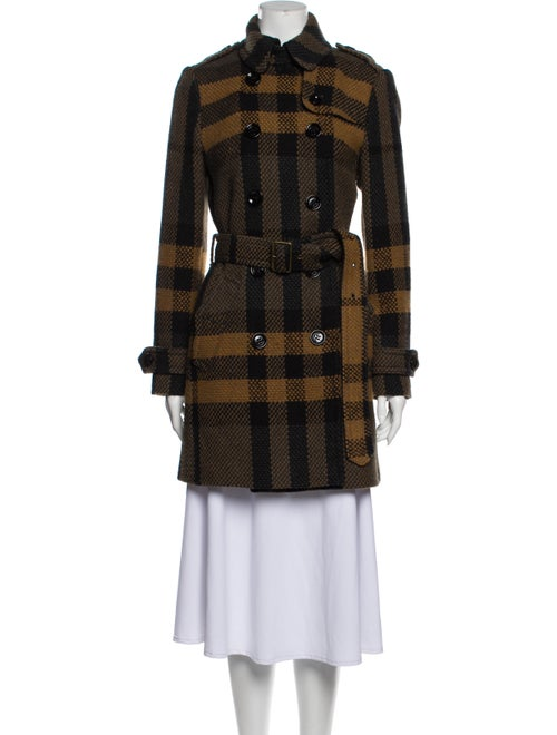 Burberry Brit Wool Plaid Print Trench Coat Wool