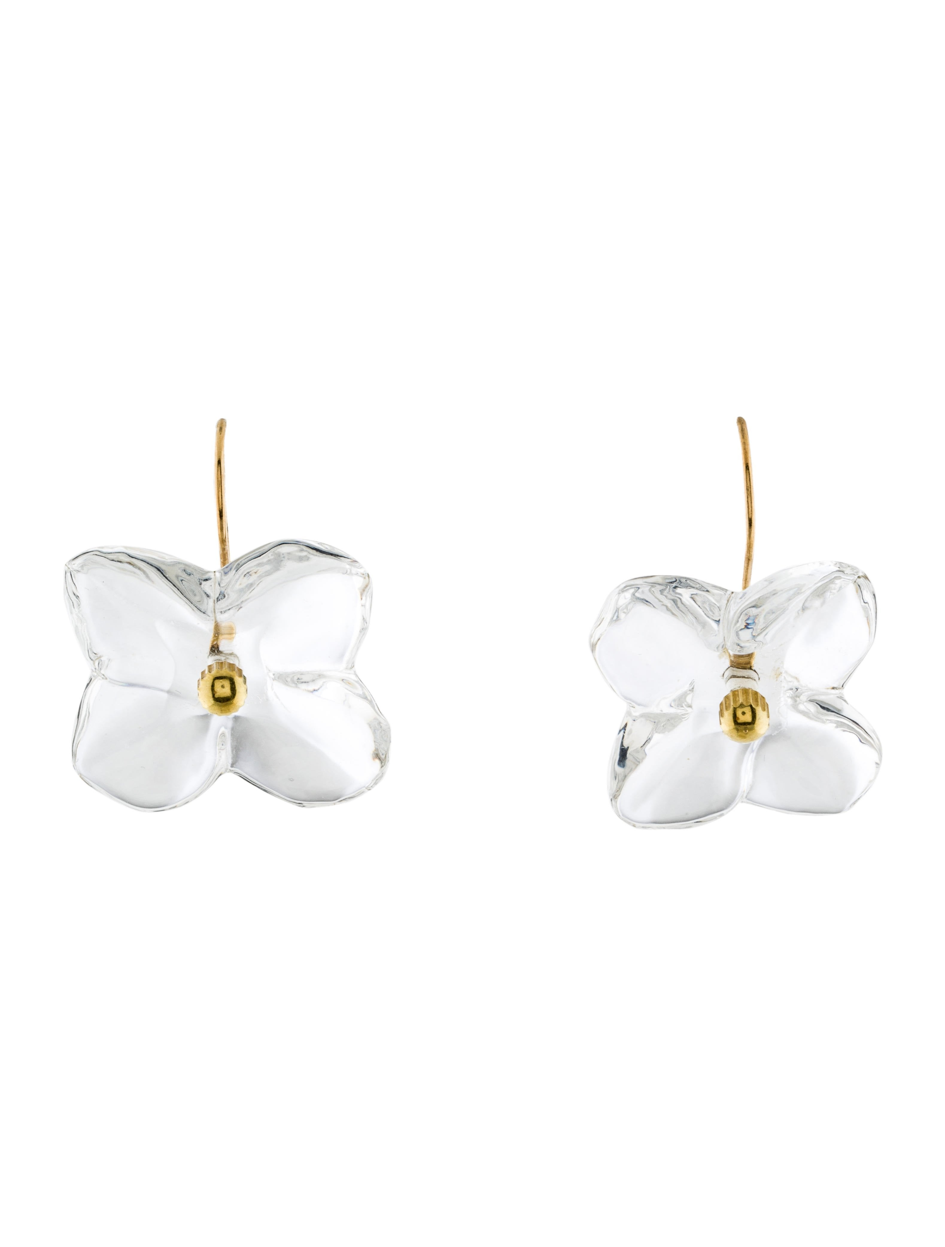 Baccarat Crystal Hortensia Flower Drop Earrings Bcc22744 The Realreal