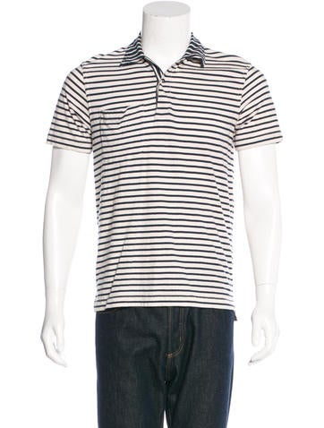 Billy Reid Striped Woven Polo None