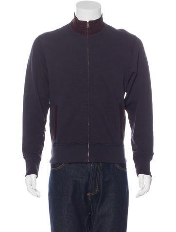Billy Reid Suede-Trimmed Zip Sweater None