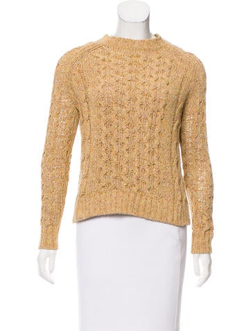 Billy Reid Cable-Knit Silk Sweater None