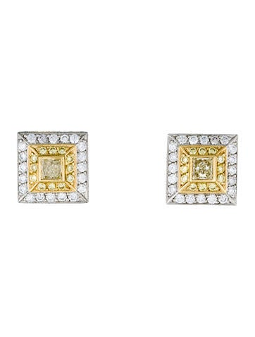 Beaudry 18K and Platinum Diamond Stud Earrings None