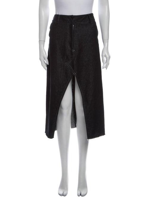 Beaufille Raw-Edge Trim Midi Length Skirt Blue