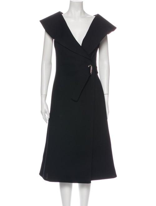 Beaufille V-Neck Midi Length Dress Black