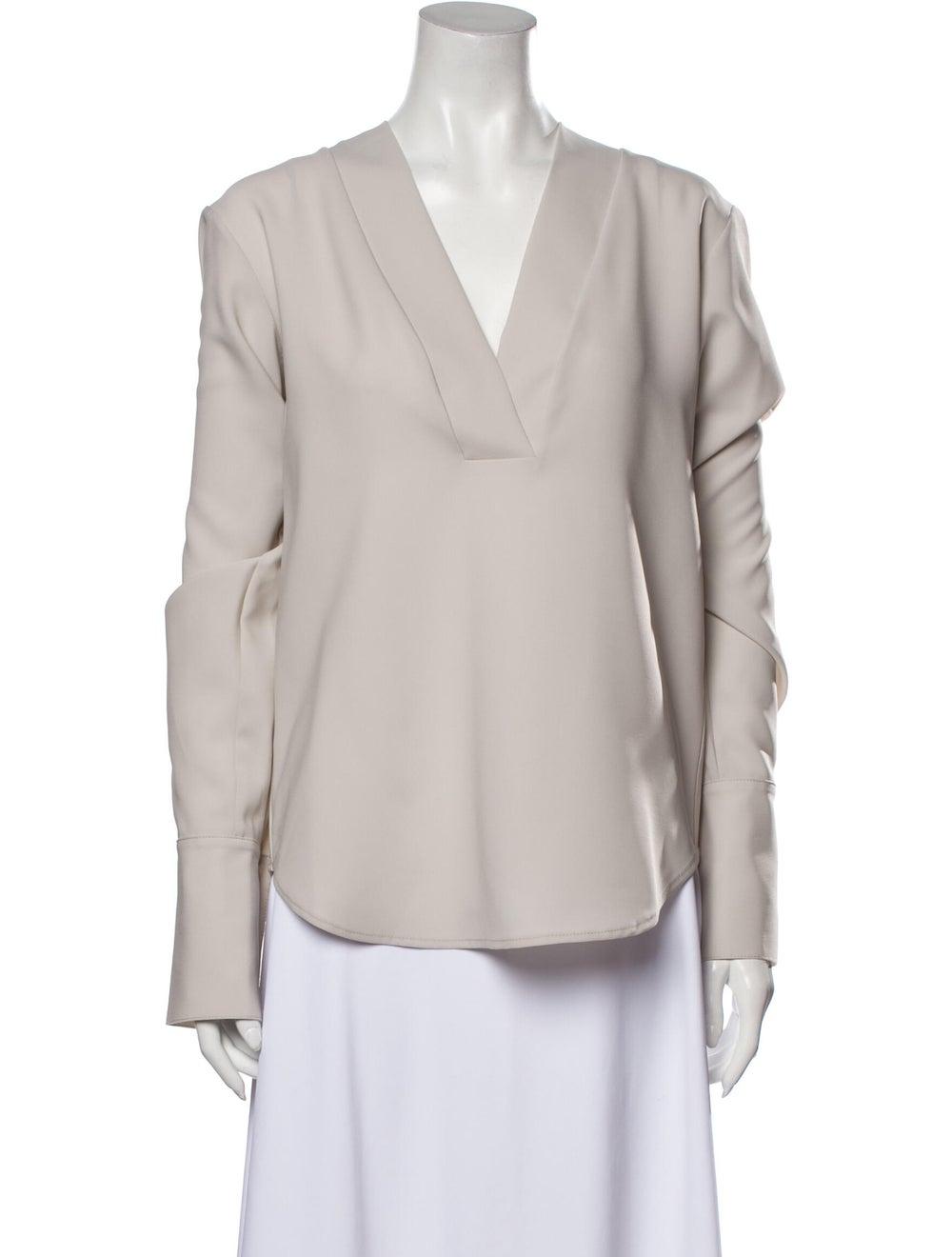 Beaufille V-Neck Long Sleeve Blouse Grey - image 1