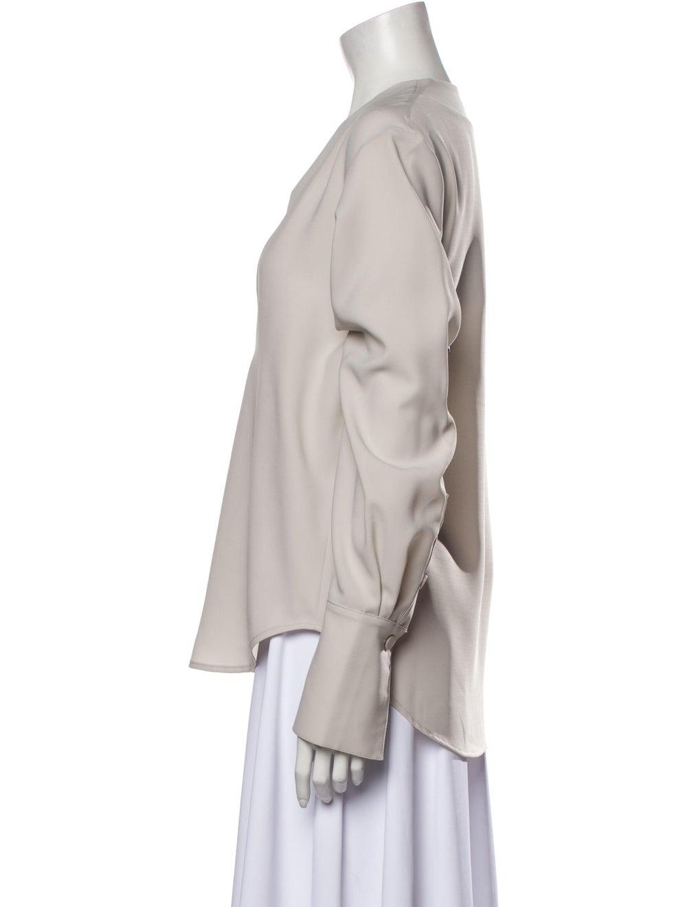 Beaufille V-Neck Long Sleeve Blouse Grey - image 2