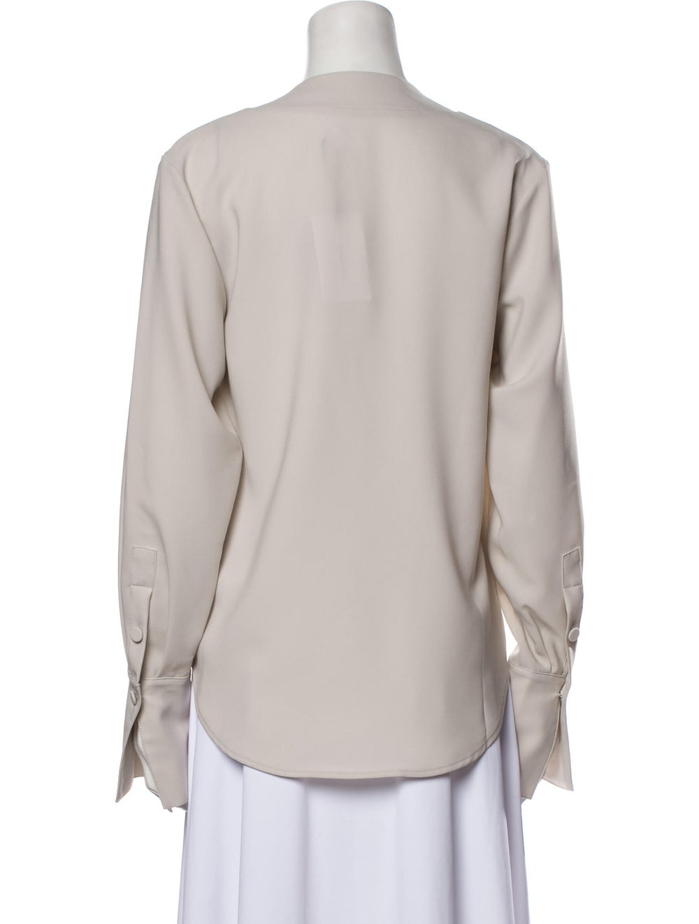 Beaufille V-Neck Long Sleeve Blouse Grey - image 3