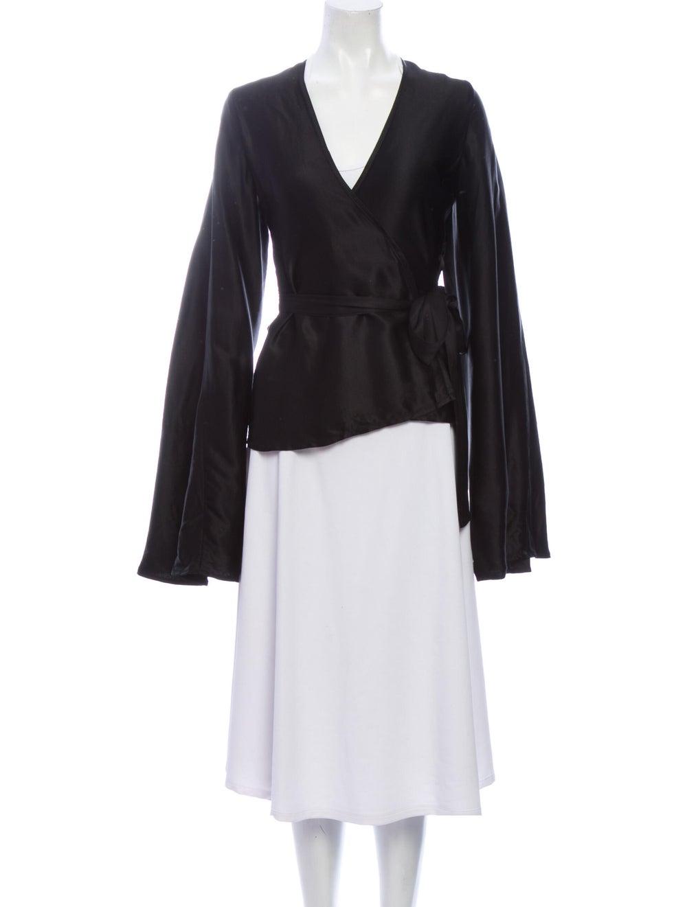 Beaufille V-Neck Long Sleeve Blouse Black - image 1