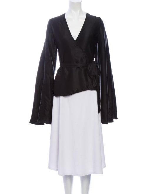 Beaufille V-Neck Long Sleeve Blouse Black