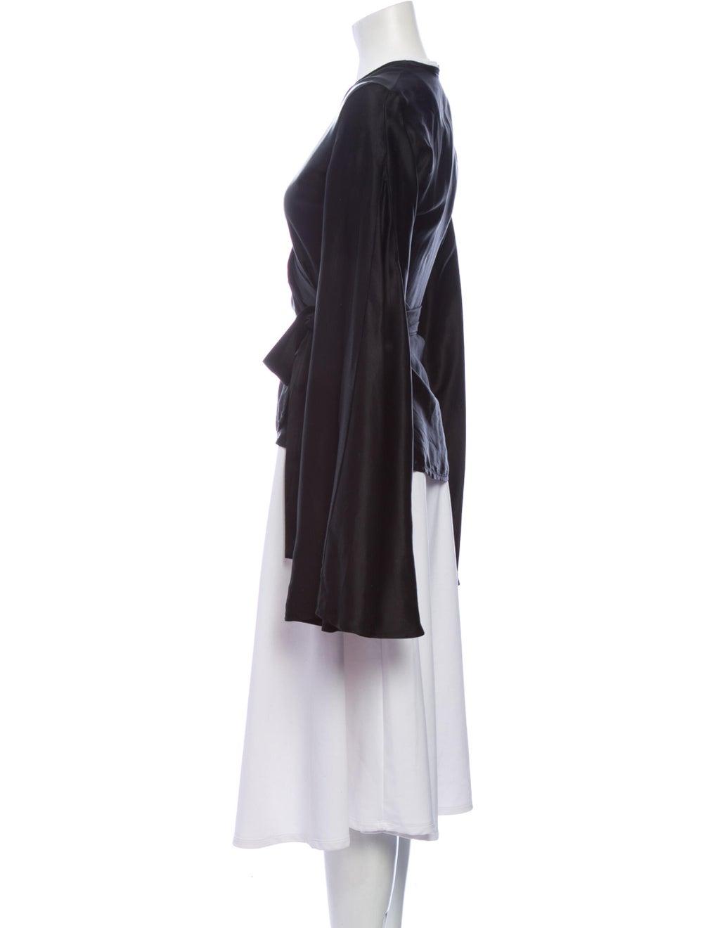 Beaufille V-Neck Long Sleeve Blouse Black - image 2