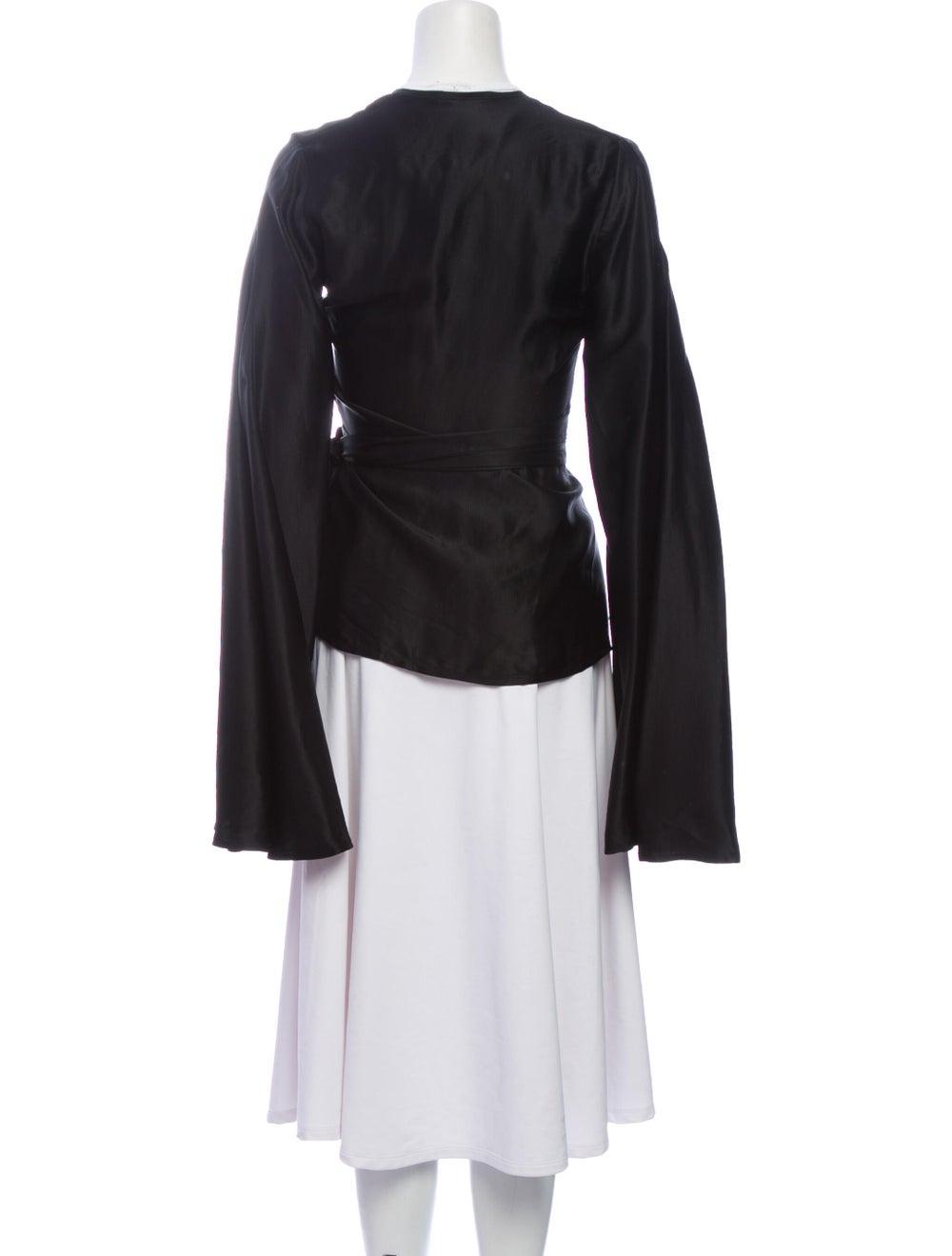 Beaufille V-Neck Long Sleeve Blouse Black - image 3