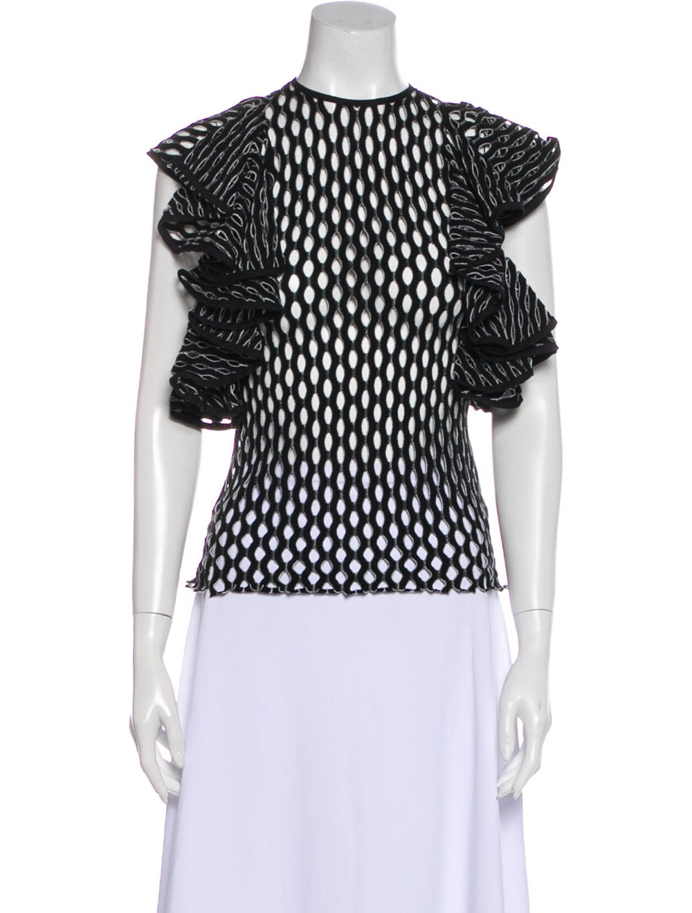 Beaufille Printed Crew Neck Blouse Black - image 1