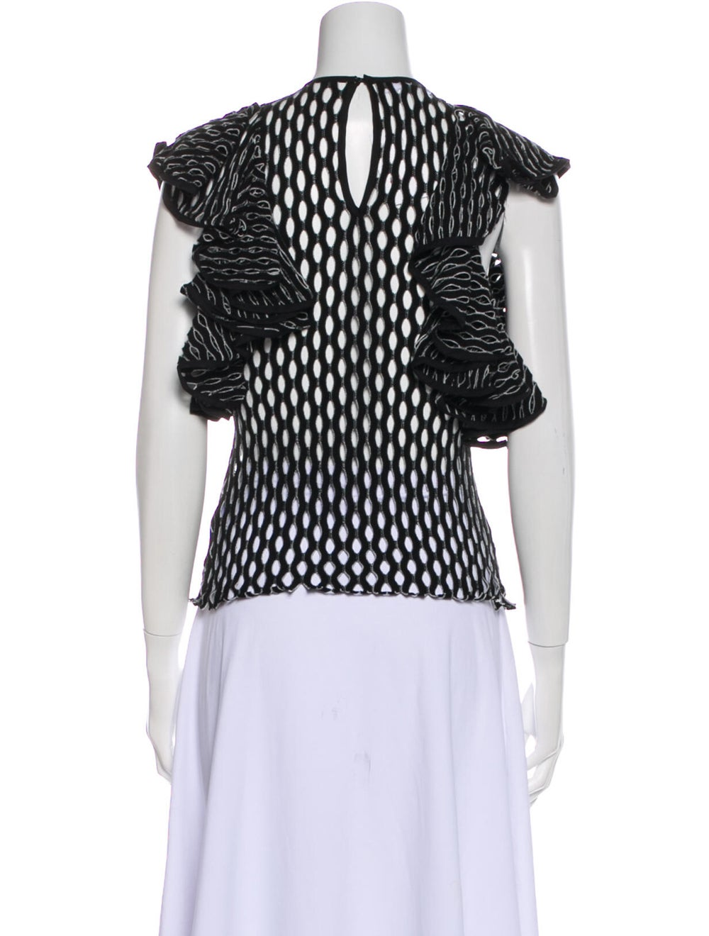 Beaufille Printed Crew Neck Blouse Black - image 3