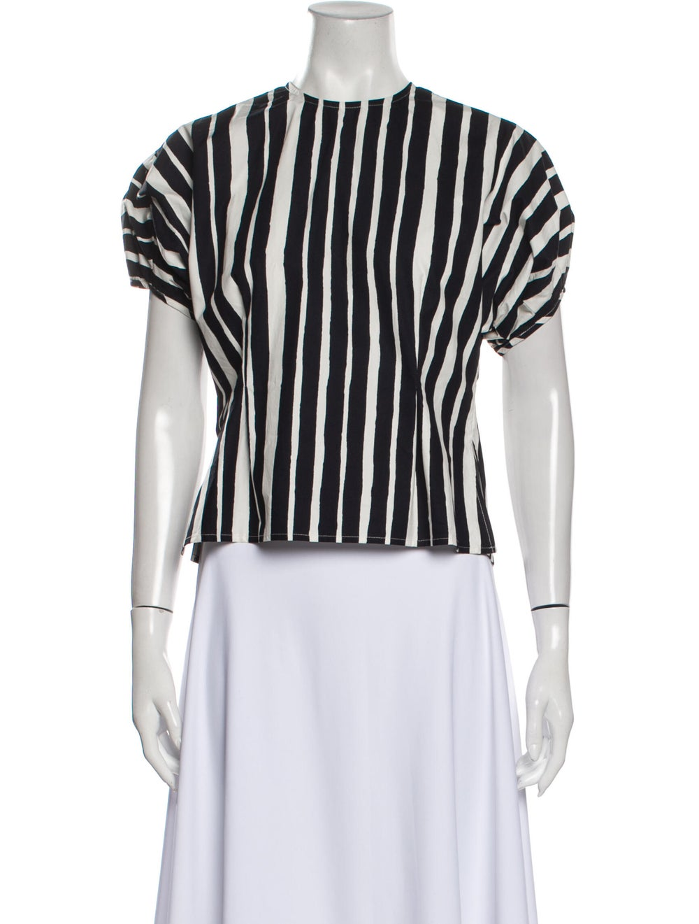 Beaufille Striped Crew Neck Top Black - image 1