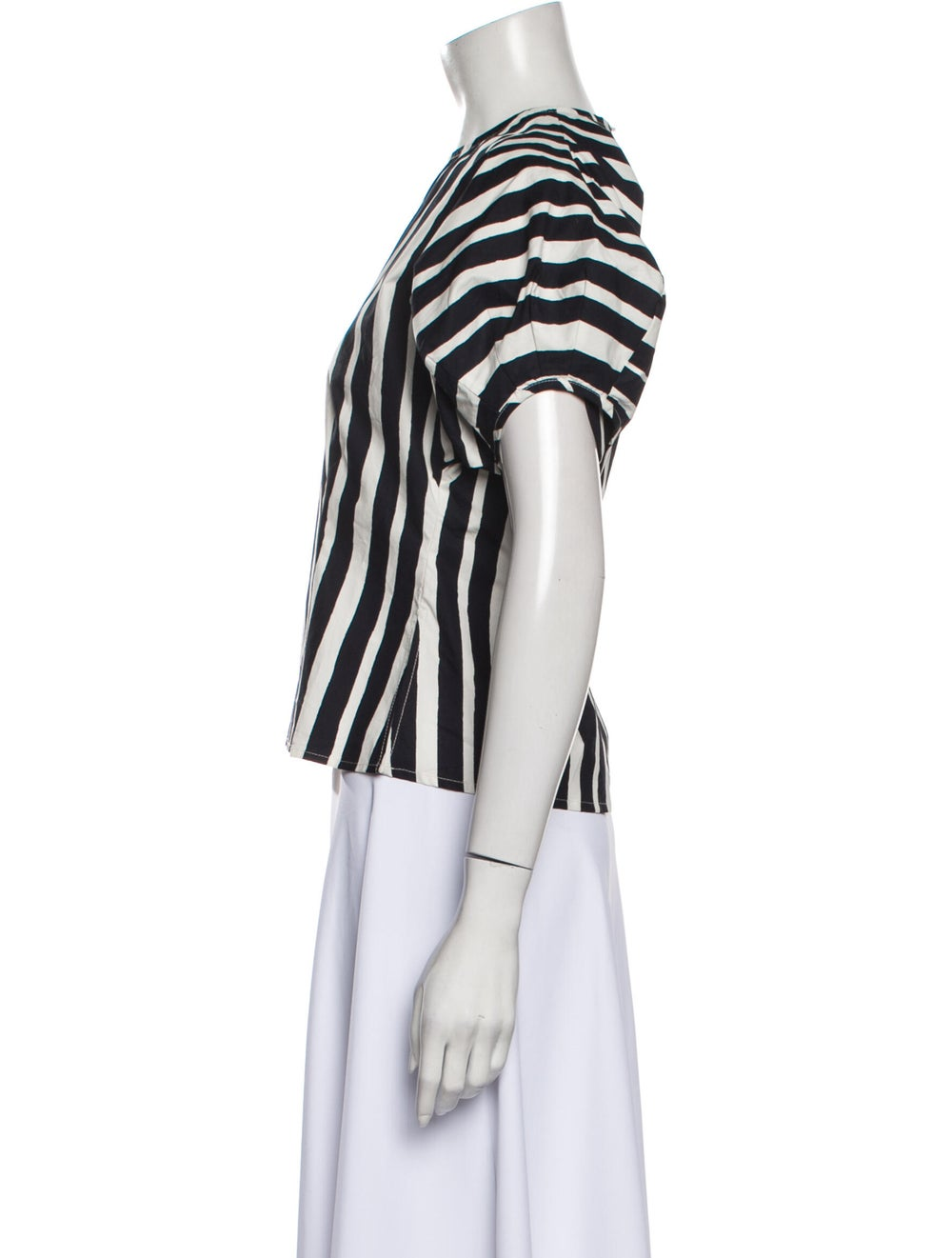 Beaufille Striped Crew Neck Top Black - image 2