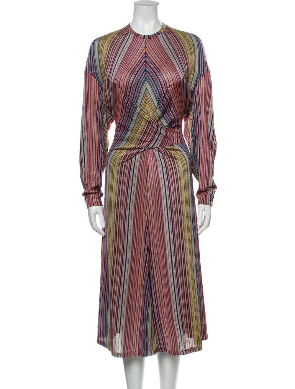 Beaufille Striped Midi Length Dress w/ Tags Orange - image 1