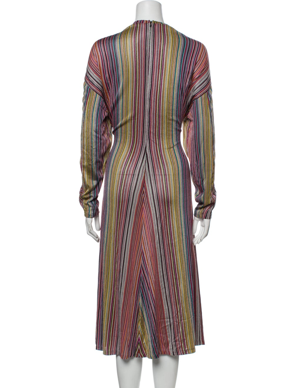Beaufille Striped Midi Length Dress w/ Tags Orange - image 3