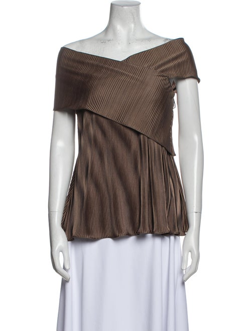 Beaufille Striped Off-The-Shoulder Top Brown - image 1