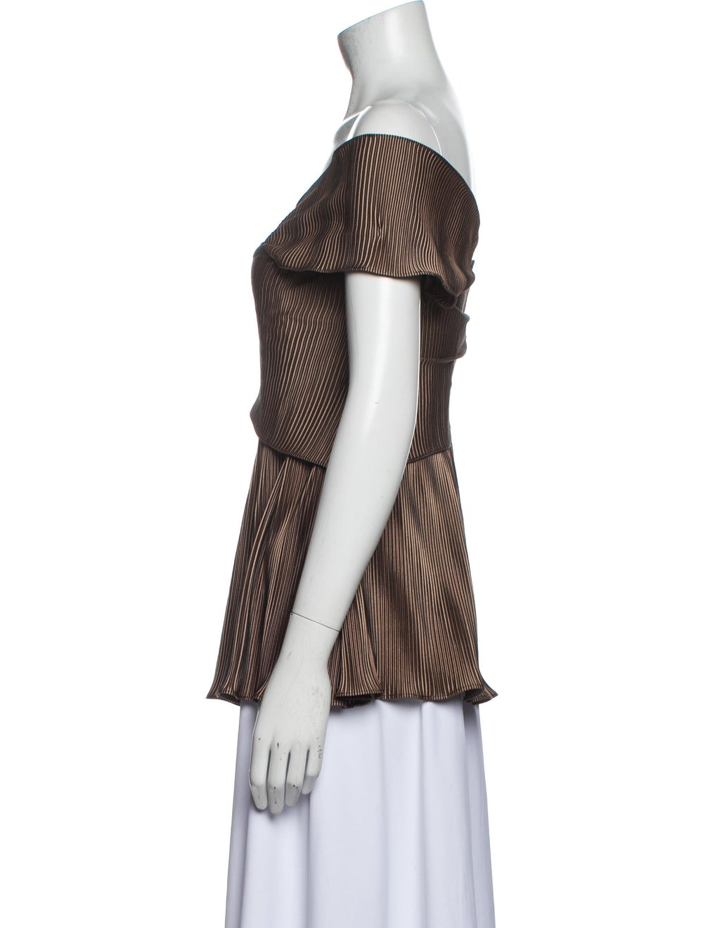 Beaufille Striped Off-The-Shoulder Top Brown - image 2