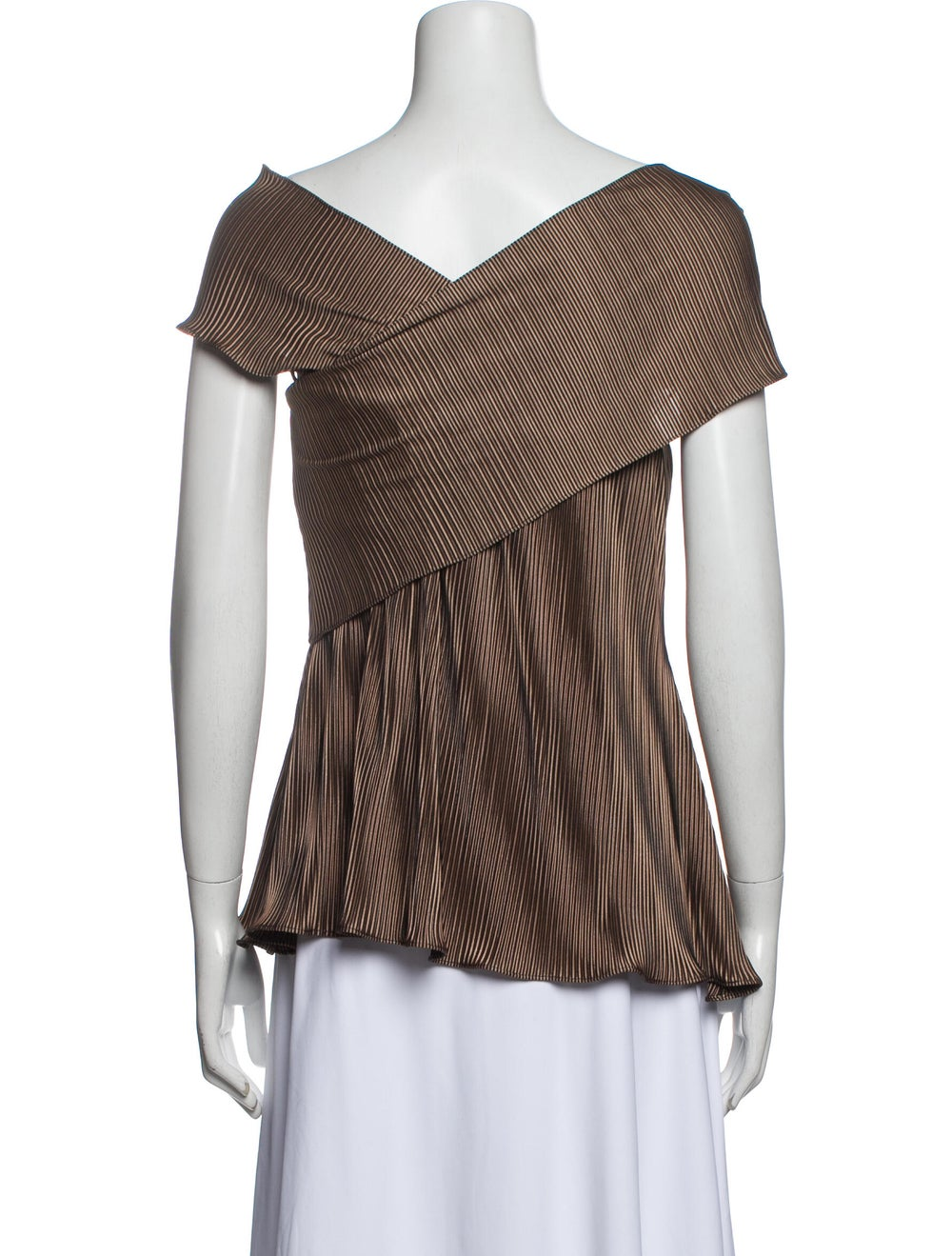 Beaufille Striped Off-The-Shoulder Top Brown - image 3