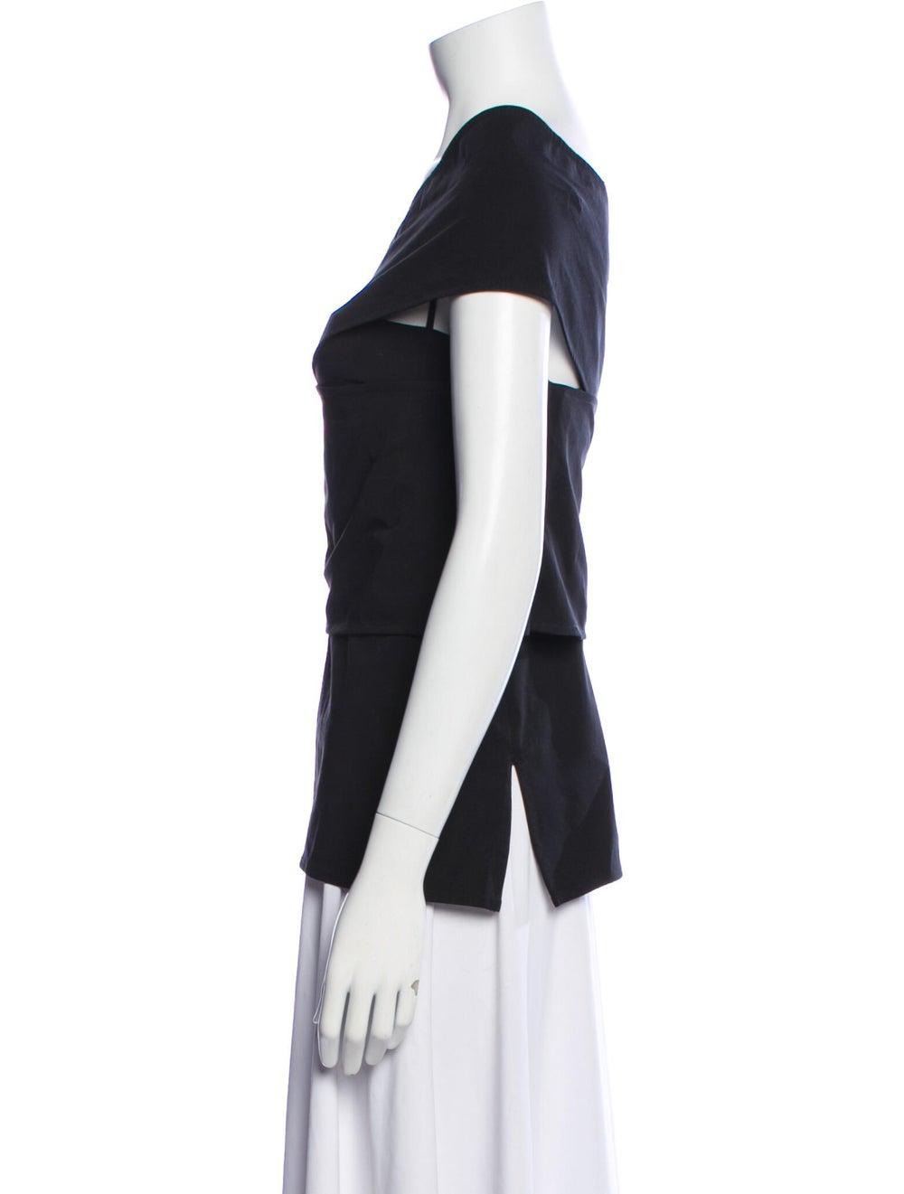 Beaufille One-Shoulder Short Sleeve Top Black - image 2