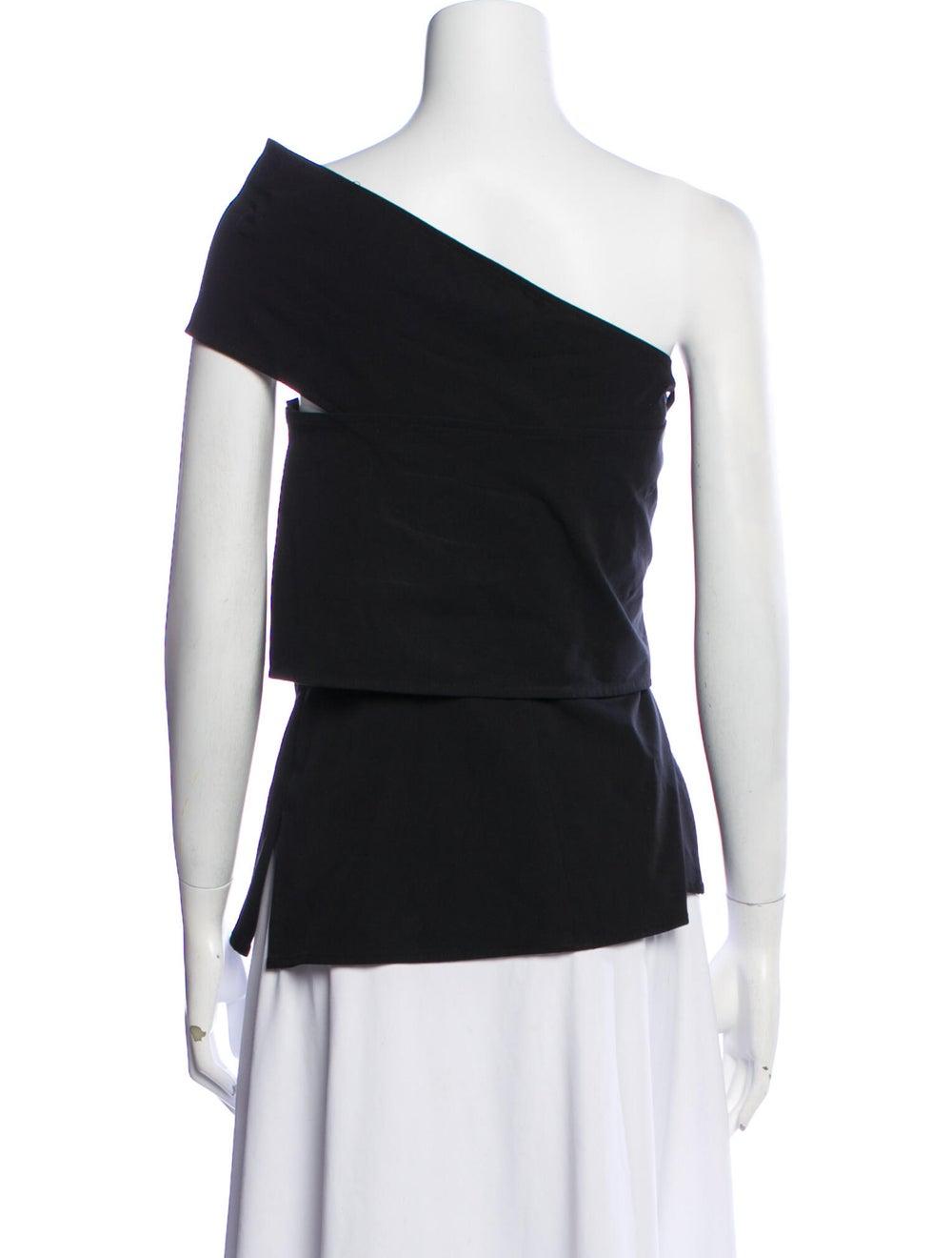 Beaufille One-Shoulder Short Sleeve Top Black - image 3