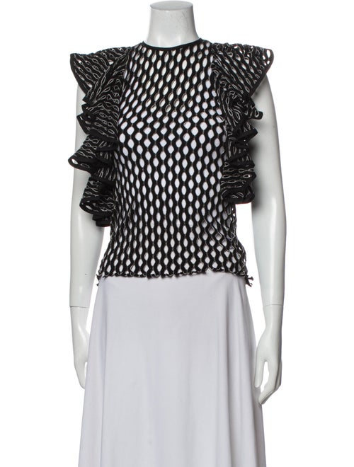 Beaufille Printed Crew Neck Blouse Black