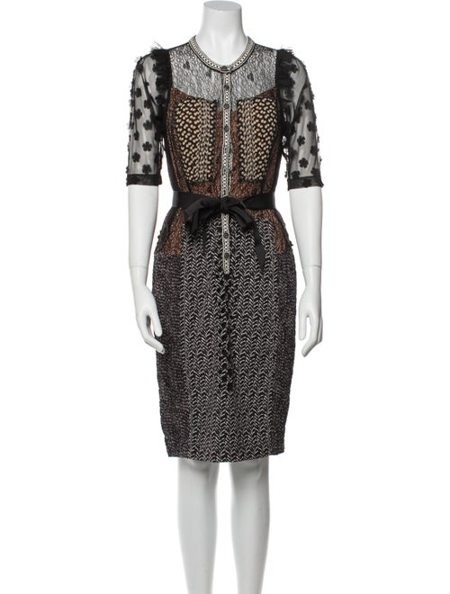 Beaufille Printed Knee-Length Dress Black