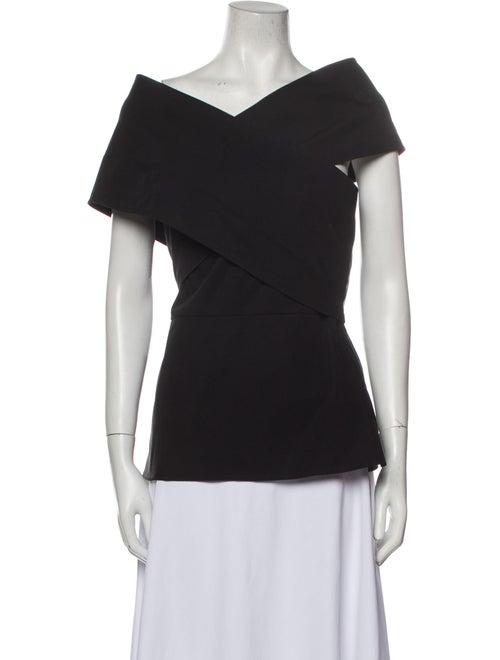 Beaufille V-Neck Short Sleeve Top Black