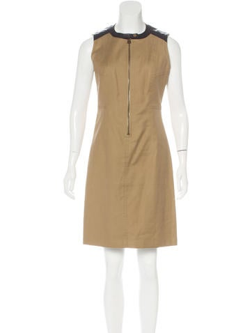 Belstaff Leather-Trimmed Sleeveless Dress None