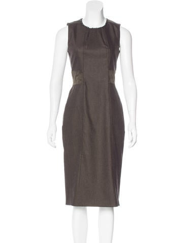 Belstaff Suede-Trimmed Wool Dress None