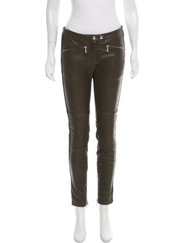 Belstaff Leather Mid-Rise Pants None