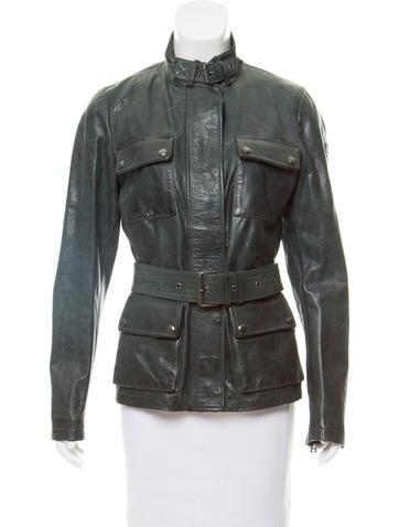 Belstaff Belted Leather Jacket None