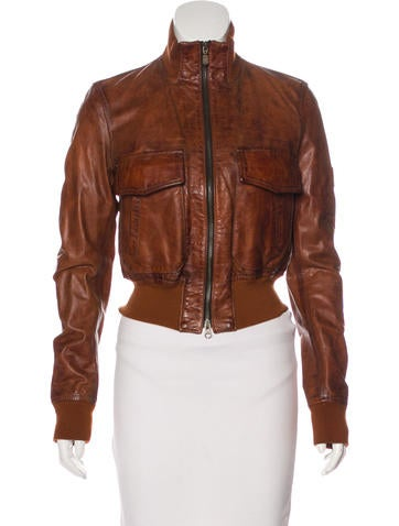 Belstaff Leather Zip-Up Jacket w/ Tags None