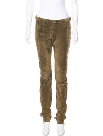 Belstaff Suede Mid-Rise Pants None