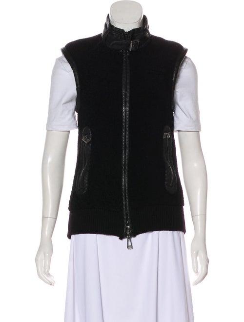 Belstaff Leather-Trimmed Wool Vest Black
