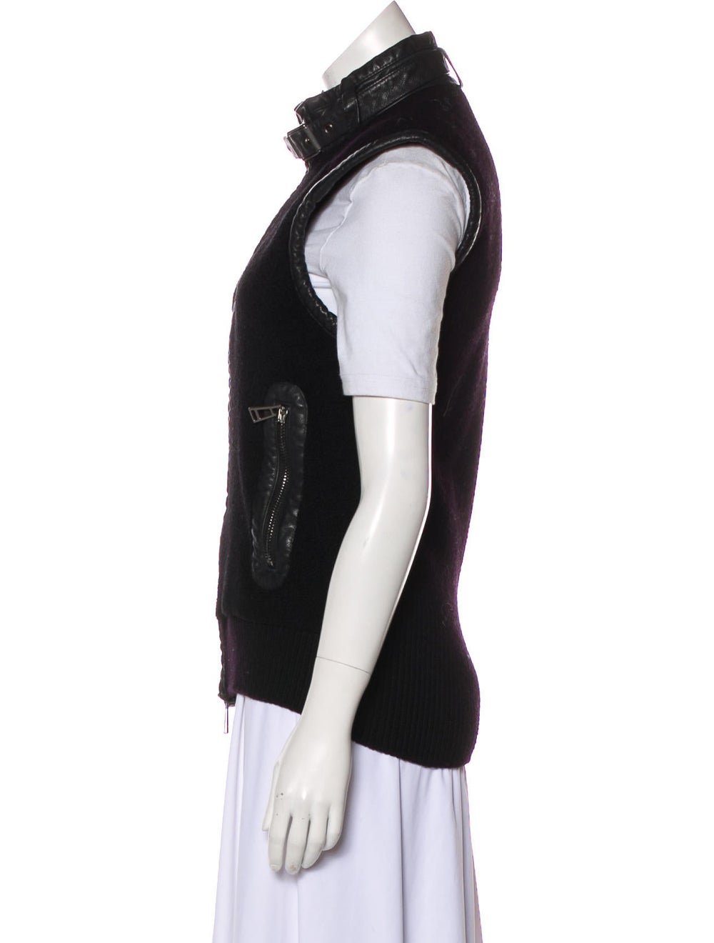 Belstaff Leather-Trimmed Wool Vest Black - image 2