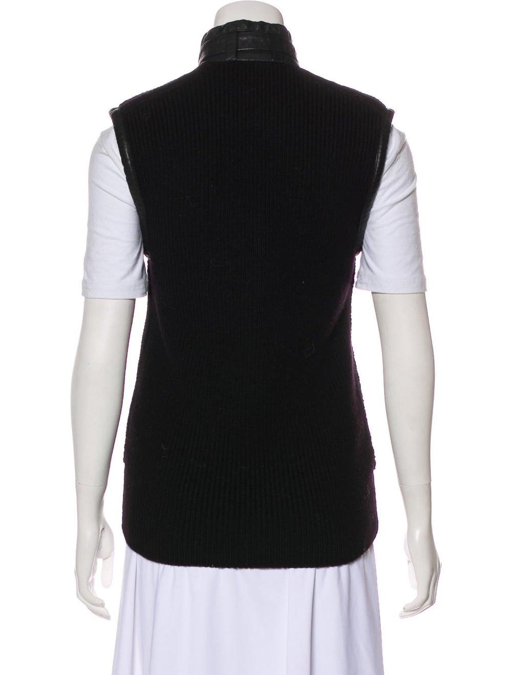 Belstaff Leather-Trimmed Wool Vest Black - image 3